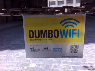 Dumbo Wi-Fi Signs at the archway